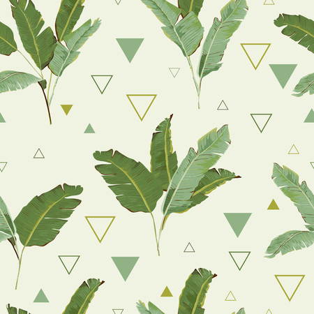 Seamless Pattern. Tropical Palm Leaves Background. Banana Leaves. Vector Background. Vettoriali