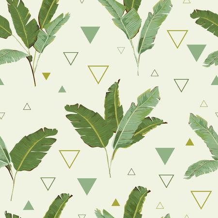 Motif continu. Palm Tropical Leaves Background. Feuilles de banane. Vector Background. Vecteurs