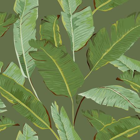 Patrón sin fisuras. Palma tropical deja el fondo. Hojas de banana. Antecedentes del vector.