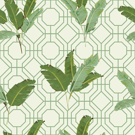 Seamless Pattern. Tropical Palm Leaves Background. Banana Leaves. Vector Background. Vectores