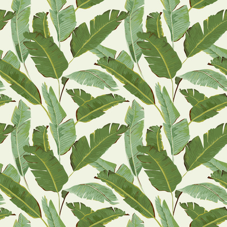 Seamless Pattern. Tropical Palm Leaves Background. Banana Leaves. Vector Background. Иллюстрация