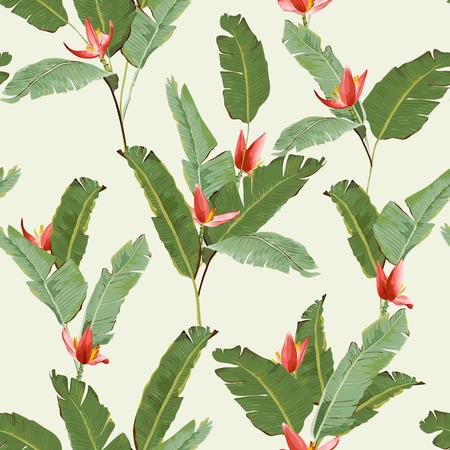 シームレス パターン。熱帯のヤシの葉の背景。バナナの葉。バナナの花。ベクトルの背景。