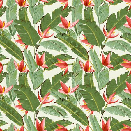 Seamless Pattern. Tropical Palm Leaves and Flowers Background. Banana Leaves. Banana Flowers. Vector Background. Vettoriali