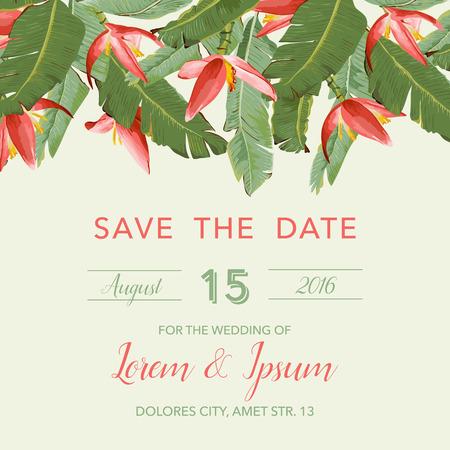 Tarjeta de la invitación de la boda - con flores tropicales Antecedentes - ahorre la fecha - en el vector Ilustración de vector