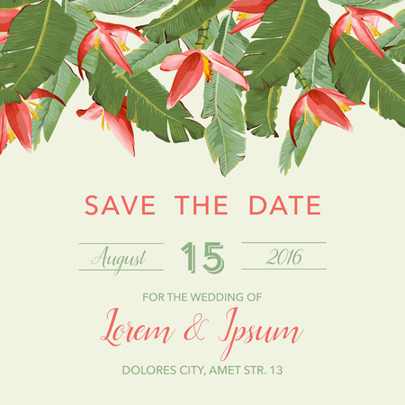 tropical: Wedding Invitation Card - with Tropical Flowers Background - Save the Date - in vector