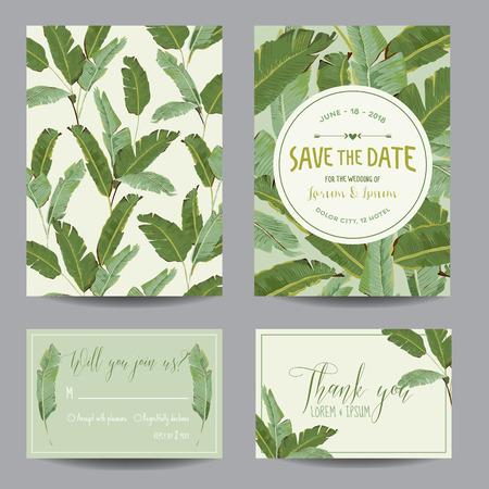 rsvp: Save the Date Card. Tropical Banana Leaves. Wedding Card. Invitation Card. RSVP. Vector Illustration