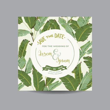 Sauvez la carte de date. Tropical Leaves Banana. Faire-part de mariage. Carte d'invitation. Vecteur