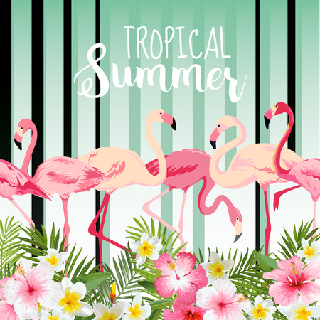 Flamingo Bird Background. Retro Pattern. Tropical Background. Tropical Flower. Floral Background. Vector Background.  イラスト・ベクター素材