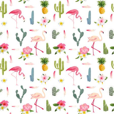 Тропический фон. Фламинго птица. Кактус фон. Тропические цветы. Бесшовные шаблон. Вектор
