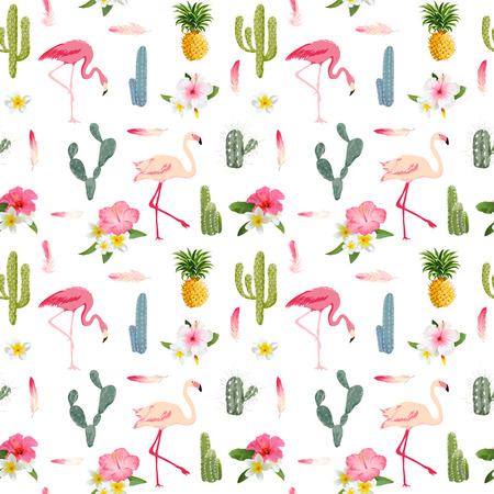 Tropical Background. Flamingo Bird. Cactus Background. Tropical Flowers. Seamless Pattern. Vector Çizim