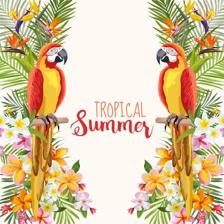 Tropical Flowers. Parrot Bird. Tropical Background. Tropical Vector. Floral Background. Summer Background. T-shirt Design.