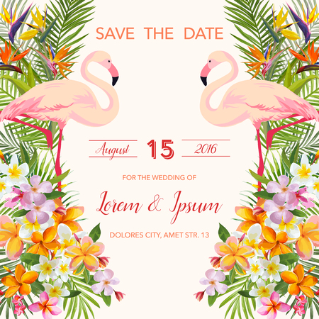 Réserve cette date. Faire-part de mariage. Fleurs tropicales. Flamingo Bird. Carte tropicale. Vector Tropical. Floral Background.