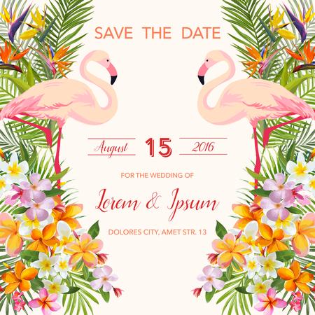Zapisz datę. Kartka ślubna. Tropikalne kwiaty. Flamingo Bird. Karta Tropikalna. Wektor Tropikalny. Floral Tła.