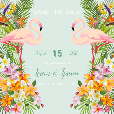 Save the Date. Carta di nozze. Fiori tropicali. Flamingo Bird. Scheda tropicale. Vettore tropicale. Sfondo floreale.