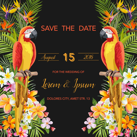 tropical flowers: Save the Date. Wedding Card. Tropical Flowers. Parrot Bird. Tropical Card. Tropical Vector. Floral Background.