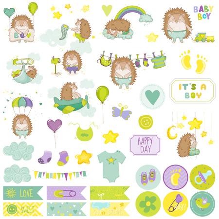 Baby Boy Hedgehog Scrapbook Set. Vector Scrapbooking. Decorative Elements. Baby Tags. Baby Labels. Stickers. Notes.
