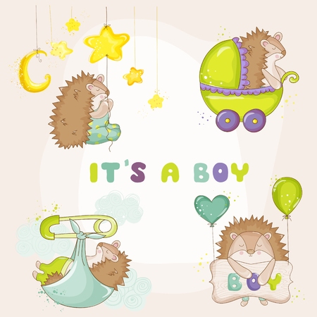 mother and baby: Baby Hedgehog Set - for Baby Shower or Baby Arrival Cards - in vector