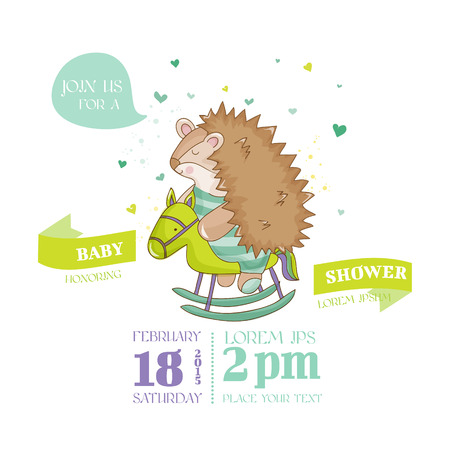 arrival: Baby Shower or Arrival Card - Baby Hadgehog - in vector Illustration