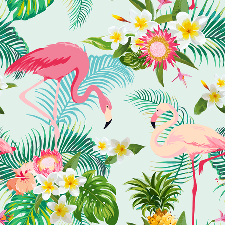 Tropical Flowers and Birds Background. Vintage Seamless Pattern. Vector Background. Flamingo Pattern.