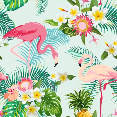 Flores y pájaros tropicales de fondo. Modelo inconsútil de la vendimia. Antecedentes del vector. Patrón del flamenco.