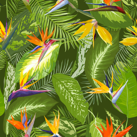 Seamless Pattern. Tropical Palm Leaves Background. Tropical Flowers. Vector Design