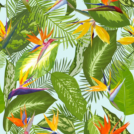 tropical garden: Seamless Pattern. Tropical Palm Leaves Background. Tropical Flowers. Vector Design