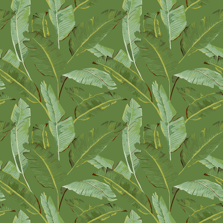 tropical: Seamless Pattern. Tropical Palm Leaves Background. Banana Leaves. Vector Background. Illustration