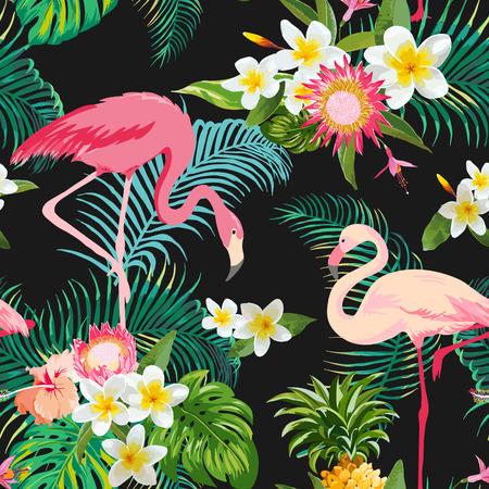 열대 꽃과 새 배경입니다. 빈티지 원활한 패턴입니다. 벡터 배경입니다. 플라밍고 패턴. 일러스트