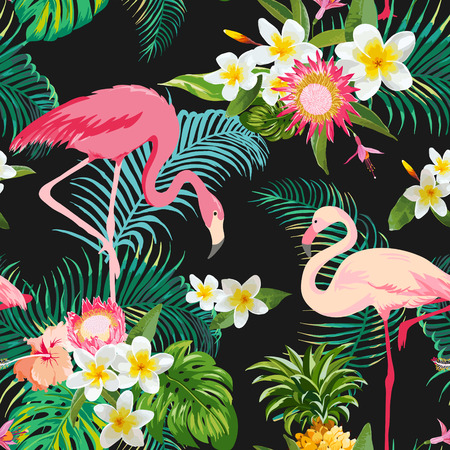 Tropikal �i�ekler ve ku?lar Arkaplan. Vintage Diki?siz Desen. Vector Background. Flamingo Desen. Çizim