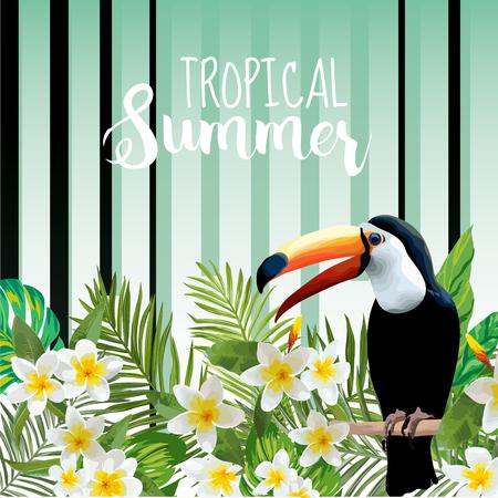 オオハシ鳥の背景。レトロなパターン。熱帯の背景。熱帯性の鳥。南国の花。花の背景。ベクトルの背景。