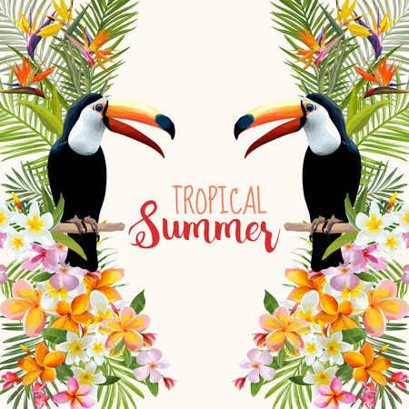 Fiori tropicali. Toucan Bird. Sfondo tropicale. Vettore tropicale. Sfondo floreale. Summer Background. T-shirt design.