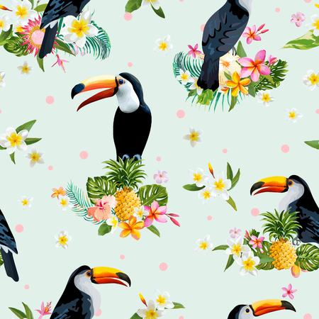 tropical bird: Toucan Bird. Tropical Flowers Background. Retro Seamless Pattern. Vector Background. Illustration