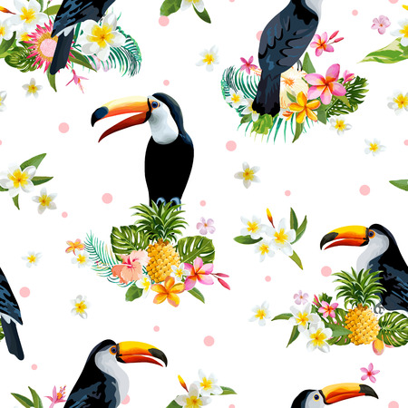 retro pattern: Toucan Bird. Tropical Flowers Background. Retro Seamless Pattern. Vector Background. Illustration