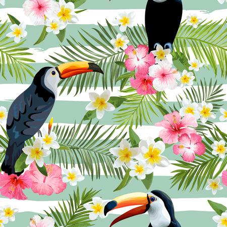 Del fondo del pájaro de Toucan. Modelo retro. Antecedentes tropical. Pájaro tropical. Flor tropical. Floral sin fondo. Antecedentes del vector.