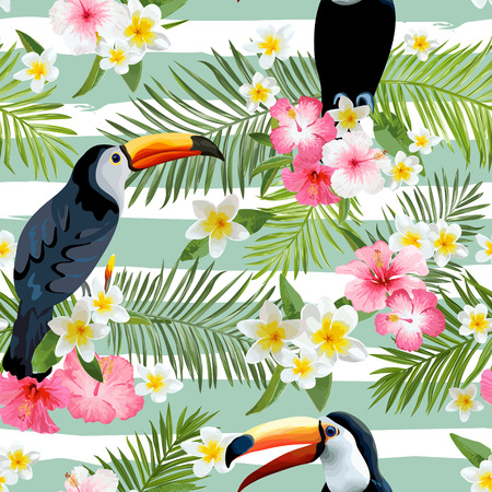 Toucan Bird Achtergrond. Retro Patroon. Tropische achtergrond. Tropische Vogel. Tropische Bloem. Bloemen Naadloze Achtergrond. Vector Achtergrond.