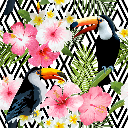 Tropical Birds and Flowers. Geometric Background. Vintage Seamless Pattern. Toucan Bird. Vector Background.