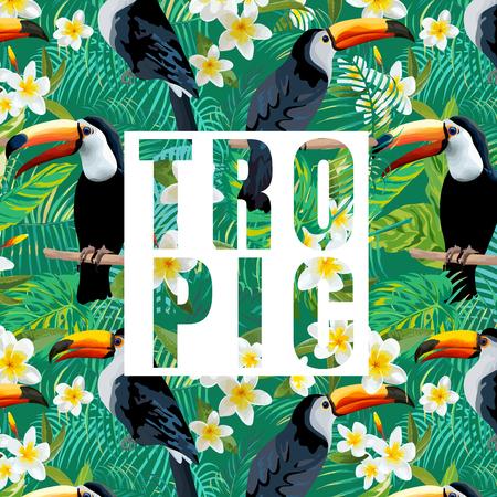 ave del paraiso: Las flores tropicales y hojas. Toucan Bird. Antecedentes del vector. Resumen gráfico de exótico. Banner tropical.