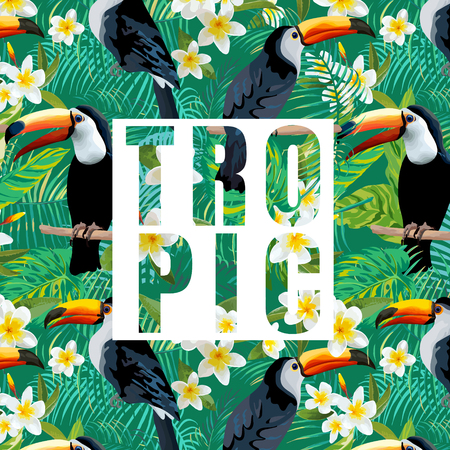 Tropical Flowers and Leaves. Toucan Bird. Vector Background. Exotic Graphic Background. Tropical Banner. Illustration