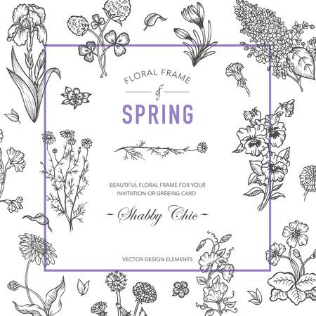 gardening: Floral Frame. Invitation Card. Wedding Card. Baby Shower Card. Vector Floral Card. Vintage Flowers. Hand drawn Flowers.