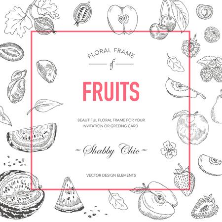 rasberry: Fruit Frame. Invitation Card. Wedding Card. Baby Shower Card. Vector Floral Card. Vintage Fruits. Hand drawn Fruit. Illustration