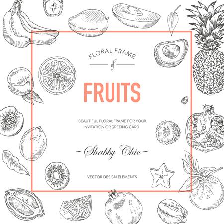 frutas tropicales: Marco de la fruta. Tarjeta de invitación. Tarjeta de boda. Tarjeta de Baby Shower. Tarjeta floral del vector. Las frutas de la vendimia. Dibujado a mano de la fruta.