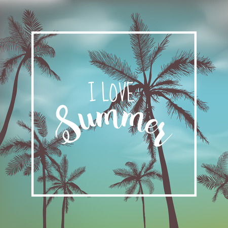 Tropical Background. Palm Leaves. Palms Background. Vector Background. Exotic Graphic Background. Tropic Banner. Illustration