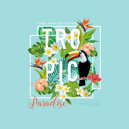 Pájaro y flores tropicales. Toucan Bird. Camiseta de diseño gráfico. Antecedentes de verano Tropic. Vector