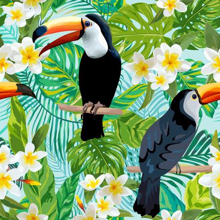 Tropicale fiori e uccelli sfondo. Toucan Bird. Reticolo senza giunte. Vector Background.