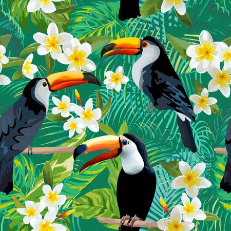 熱帯の花と鳥の背景。オオハシ鳥。ビンテージのシームレスなパターン。ベクトルの背景。
