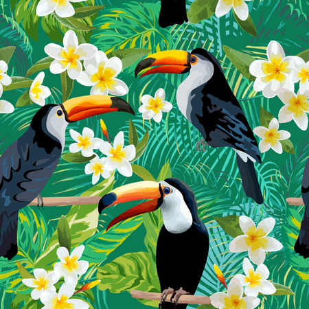 Tropical Flowers and Birds Background. Toucan Bird. Vintage Seamless Pattern. Vector Background.