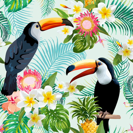 Tropical Flowers and Birds Background. Vintage Seamless Pattern. Vector Background. Toucan Pattern. Vettoriali