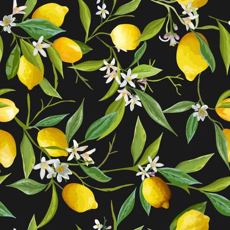 シームレス パターン。レモン果実の背景。花柄。花、葉、レモンの背景。ベクトルの背景。