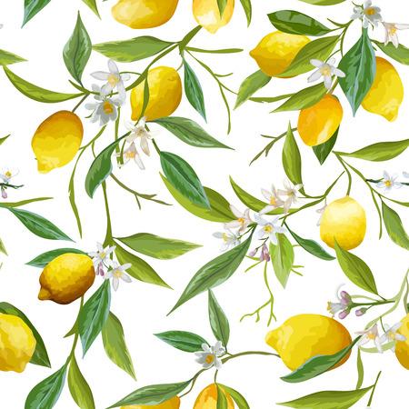 Seamless Pattern. Lemon Fruits Background. Floral Pattern. Flowers, Leaves, Lemons Background. Vector Background. Vettoriali