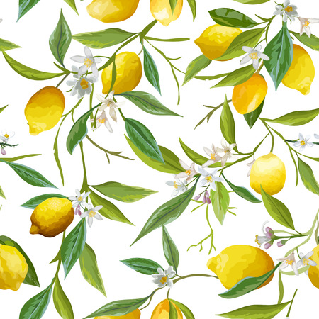 Seamless Pattern. Lemon Fruits Background. Floral Pattern. Flowers, Leaves, Lemons Background. Vector Background. Ilustrace